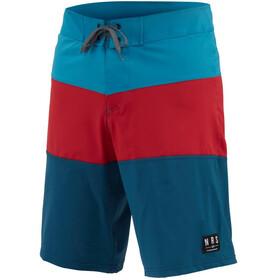 NRS Benny Board Shorts Men, Azul petróleo/rojo